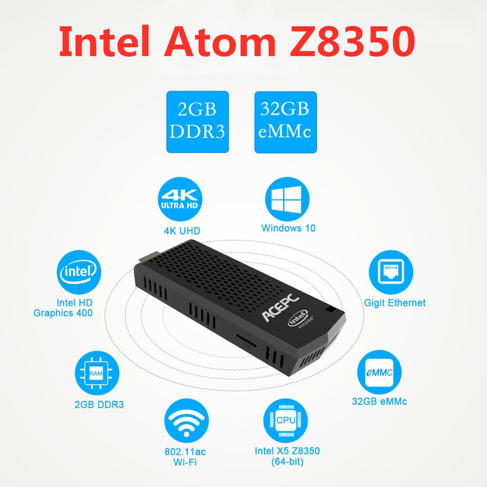 T6 Pro Mini PC Intel Atom Z8350 Quad Core 1.44GHz Windows10 licenced 4GB RAM 64GB ROM 2.4G/5G WiFi BT 4.0 USB 3.0 Compute Stick