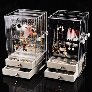 Plastic Jewelry Organizer Dust-proof Earrings Holder Jewelry Storage Drawer Box Necklace Display Stand Jewelry Storage Rack Ring