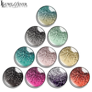 12mm 14mm 16mm 20mm 25mm 30mm 630 Golden Point Mix Round Glass Cabochon Jewelry Finding 18mm Snap Button Charm Bracelet
