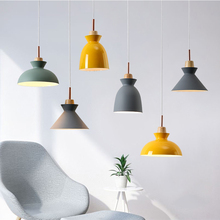 Nordic modern simple restaurant hanging lamp colored art and creative pendant light beside lights bedroom lighting