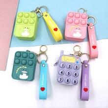 Hot New Cartoon Fidget Toy Wallet Simple Dimple Push Bubble Dinosaur Bubble Keychain Creative Wallet Kids Toys Pop Its Purse