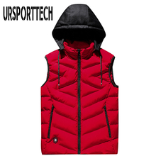 Men's Vest Winter Down Vest Casual Waistcoat Men's Sleeveless Jacket Plus Size 8XL Warm Men Vest Overcoats Hat None Detachable