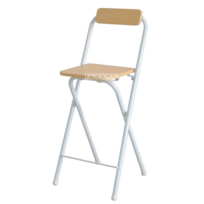 0059A Folding Tall Stool Living Room Creative Wood High Stool Portable Household Bar Backrest Chair High Foot Leisure Chair