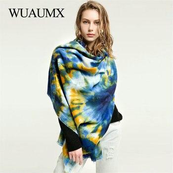 Wuaumx Brand Print Cashmere Scarf Women Autumn Winter Warm Women's Scarves Ladies Shawls Wraps Female Neckerchief 180*90cm недорого
