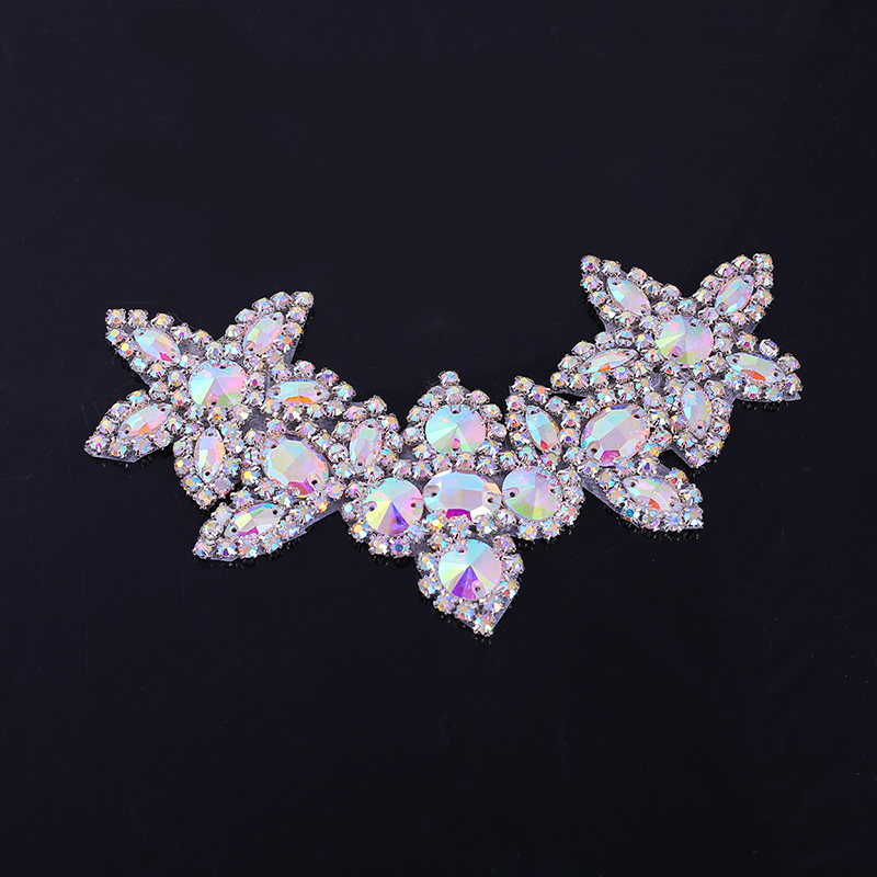 16.5cm Sew On Glass Rhinestone Applique Accessory Crystals Stones Patches For Clothes Wedding Evening Dress Decoration Art Craft