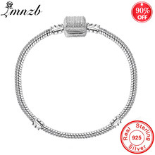 90% OFF! Original 925 Silver 3mm Basic Snake Chain Fit Gift Bracelet DIY Charms Beads Bracelets & Bangles Fine Jewelry LB004(China)