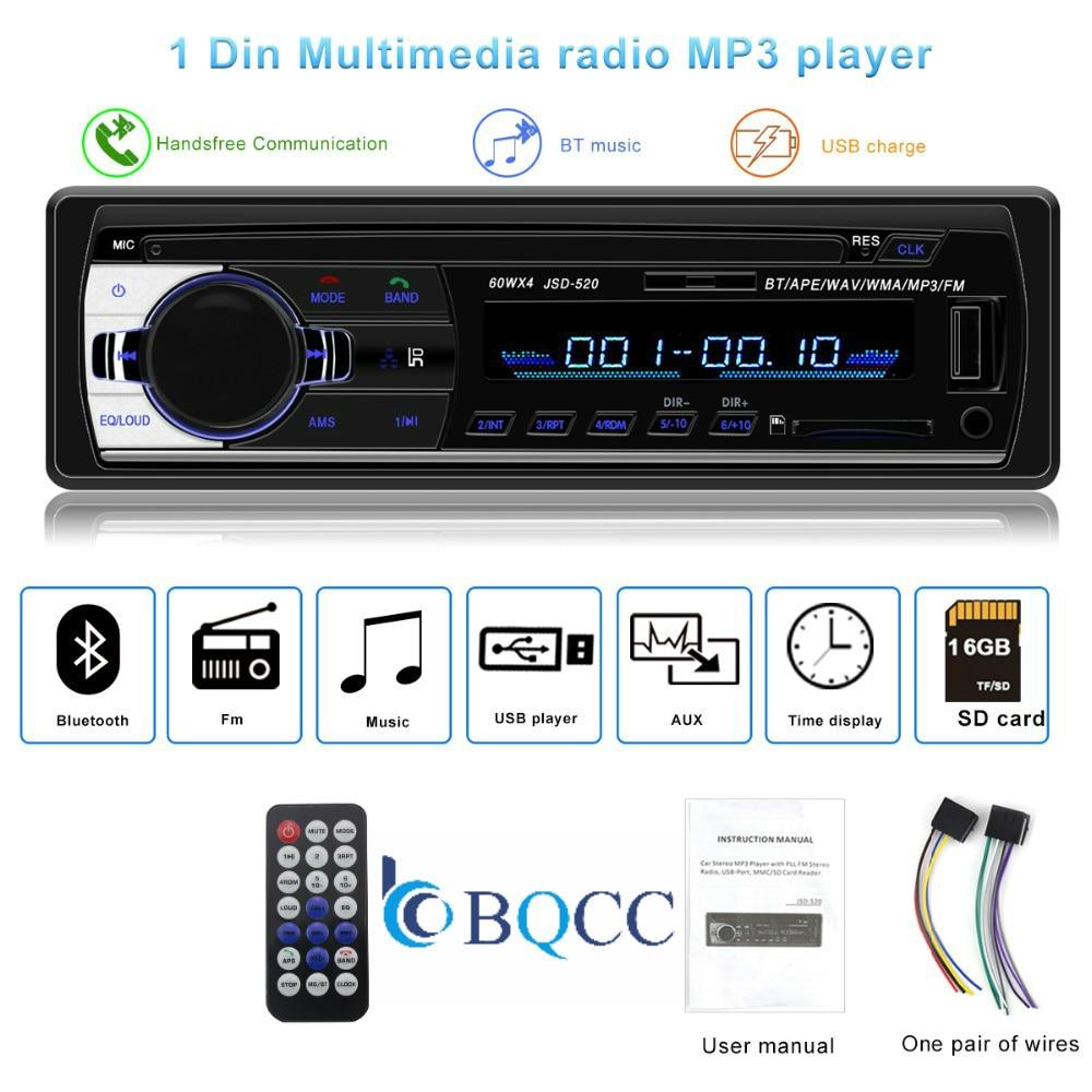 Bluetooth Autoradio Car Stereo Radio FM Aux Input Receiver SD USB JSD-520 12V In-dash 1 Din  MP3 Multimedia Player