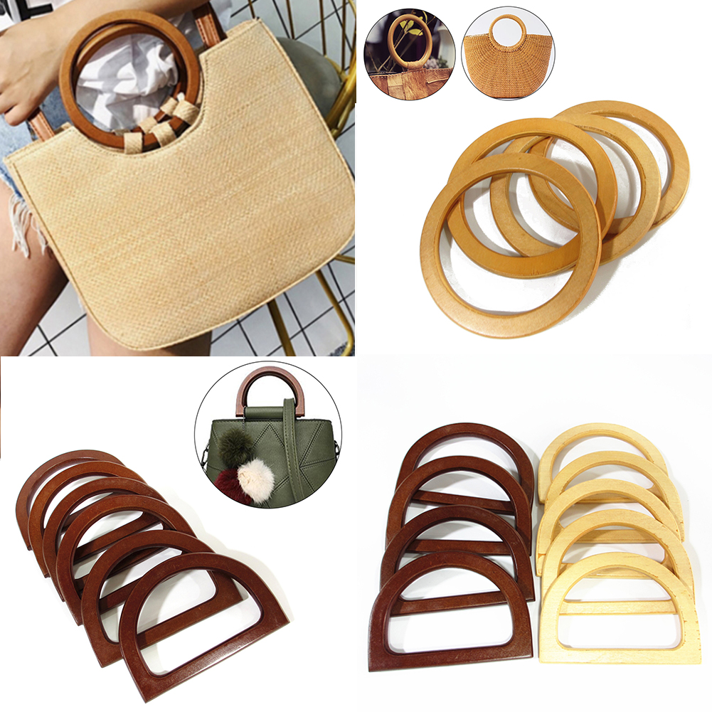 1PC Round Wooden Bag Handle Replacement DIY Handcrafted Handbag Handles Bags Parts Accessories