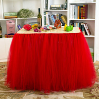 100*80cm Table Skirt Tulle Tutu Table Skirts for Wedding Festival Birthday Party Table Decoration Soft Home Textile Tablecloth