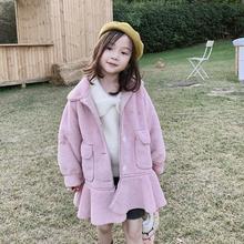 Новинка года,, пальто с меховыми оборками для девочек Утепленная зимняя модная куртка с длинными рукавами для девочек от 2 до 7 лет, HH12