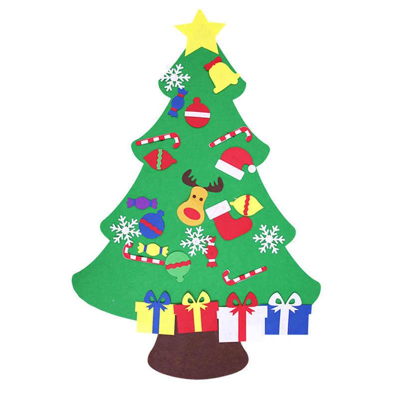1 шт. Войлок DIY рождественская елка подарки на новый год для детей игрушки искусственное дерево дверь настенные подвесные украшения для украшения дома