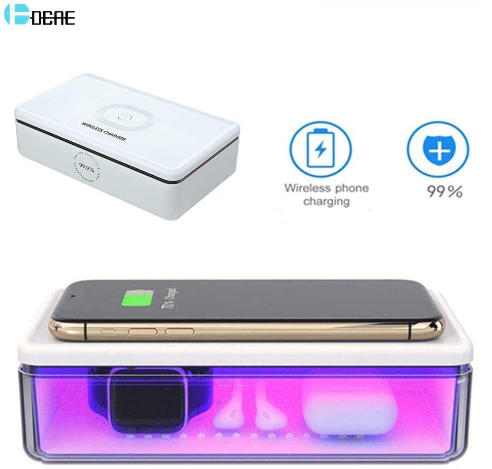15W <font><b>Qi</b></font> Fast Wireless Charger UV Lamp Cell Phone Sanitizer Box for Apple iPhone 11 Samsung Airpods <font><b>Watch</b></font> Disinfection Sterilizer image