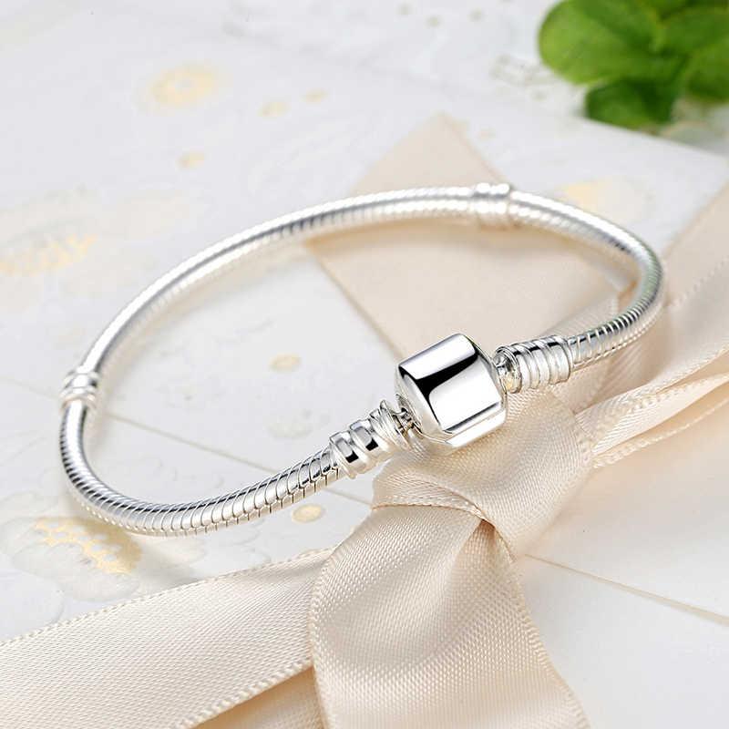 Autentyczne 100% 925 Sterling Silver podstawowe wąż łańcuch bransoletka i Bangles biżuteria WEUS902