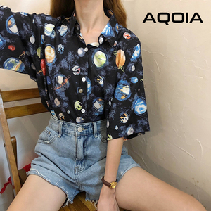 AQOIA Korean style Short Sleeve Turn Down Collar Women Blouses Button Up Space Priting Blouse 2020 Spring Summer Ladies Shirts