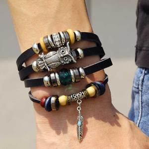 IFMIA Fashion Owl Leaf Crystal Beads Leather Charm Bracelets Set For Men New Wristband Multiple Bracelet Bangles Party Jewelry