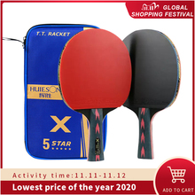 Huieson 2 adet yükseltildi 5 yıldız karbon masa tenisi raketi seti hafif güçlü Ping Pong raket yarasa iyi kontrol