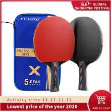 Huieson 2 pçs atualizado 5 estrela carbono raquete de tênis mesa conjunto leve poderoso ping pong paddle bat com bom controle