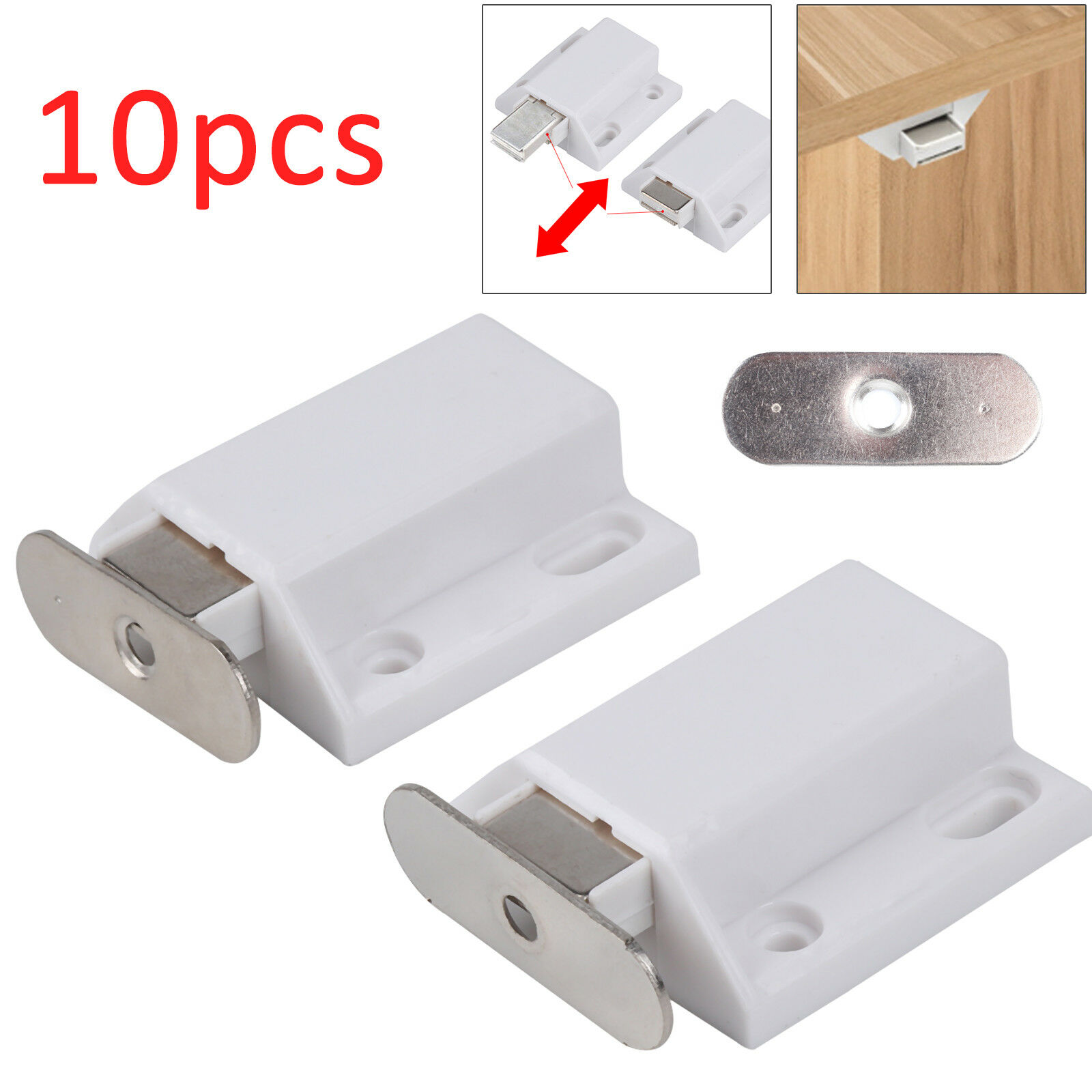 10 X Push To Open Magnetic Pressure Touch Release Cabinet Doors Catches Latch