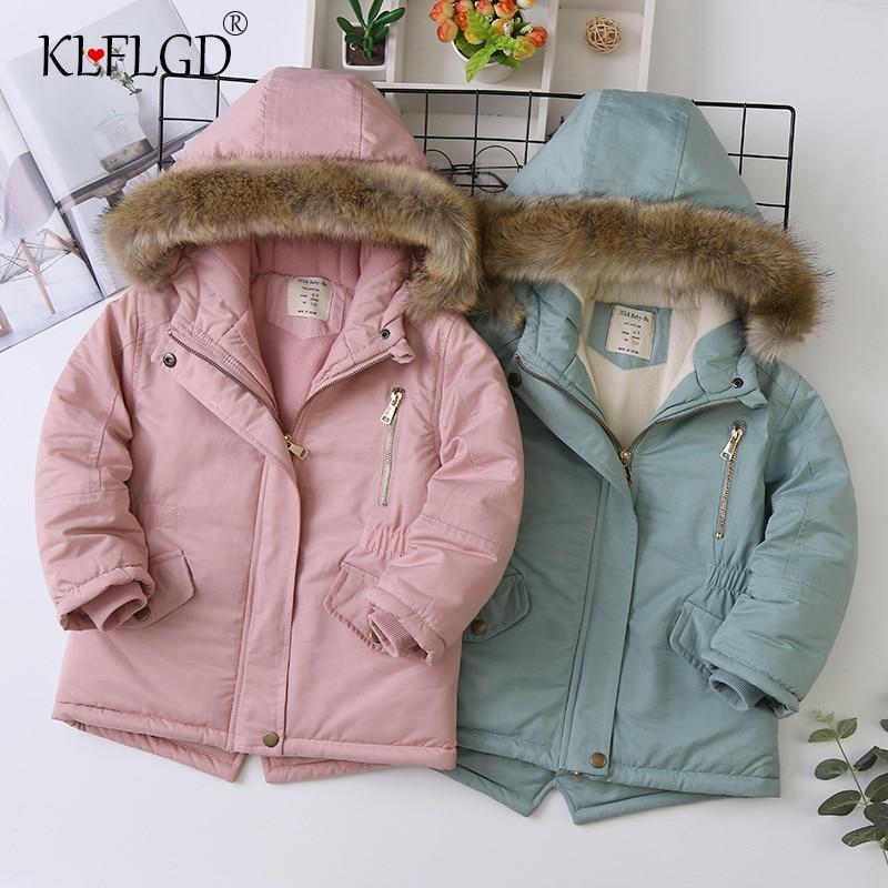 Джинсовая куртка для маленьких девочек; Теплая меховая куртка с капюшоном для маленьких девочек; Верхняя одежда; Зимняя детская куртка; Пал...