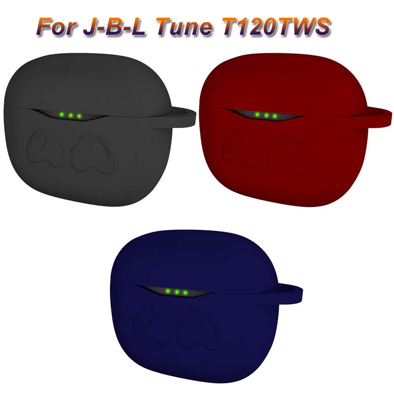 JINSERTA Anti-fall Silicone Earphone Case Protective Cover For JBL Tune T120 TWS Wireless Bluetooth Earphones Charging Box