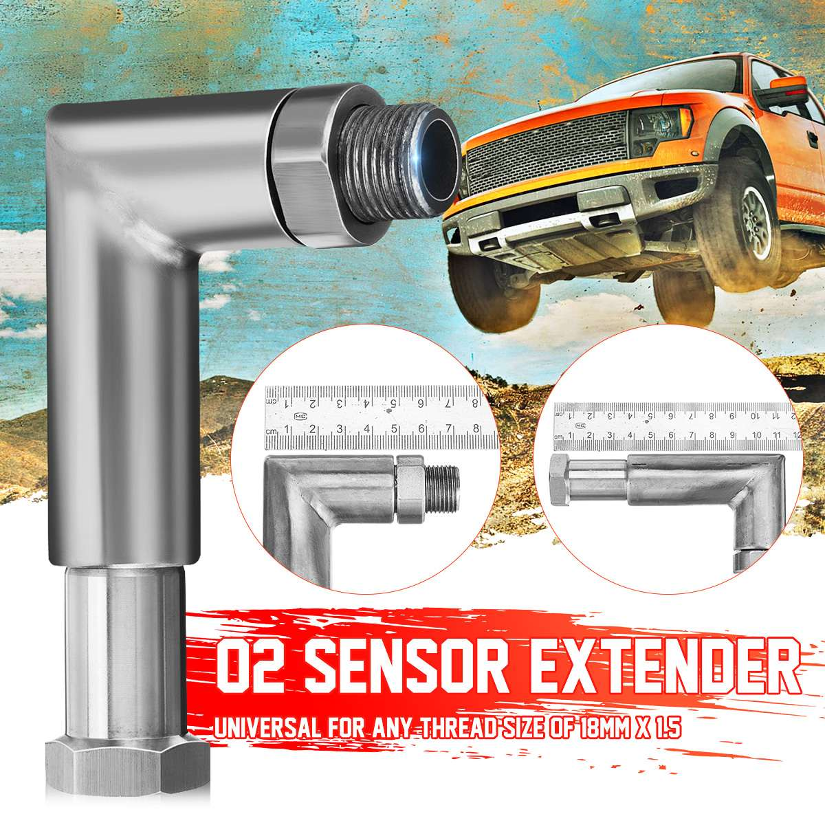 Universal <font><b>M18</b></font> <font><b>x</b></font> <font><b>1.5</b></font> O2 Oxygen Sensor Extender Spacer Angled 90 Degree O2 Bung Extension Catalytic Converter image