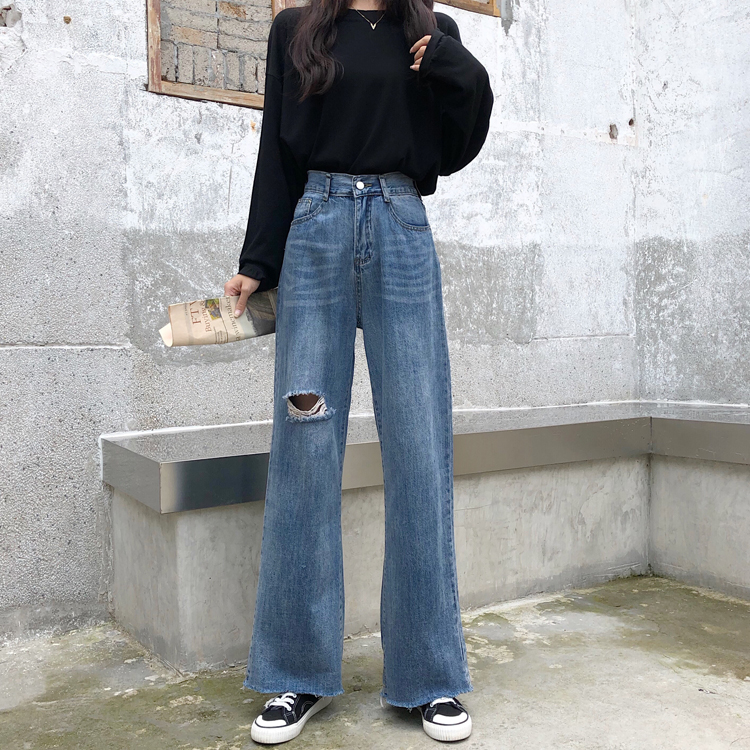 Women Autumn High Waist Denim Trousers With Holes Elastic Button Fly Wide Leg Jeans Full Length Female Long Flare Cotton Pants