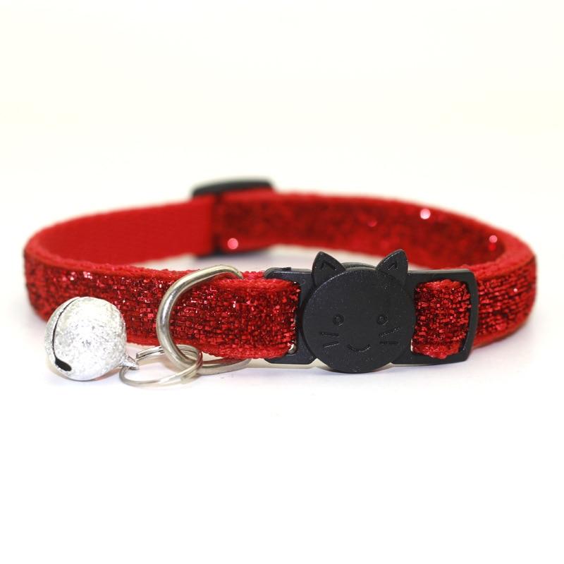 Ошейник для питомца кота с колокольчиком, модный Регулируемый ошейник для котенка, кошки с блестками, шейный ремень, аксессуары для животных принадлежности для кошек - Цвет: Red