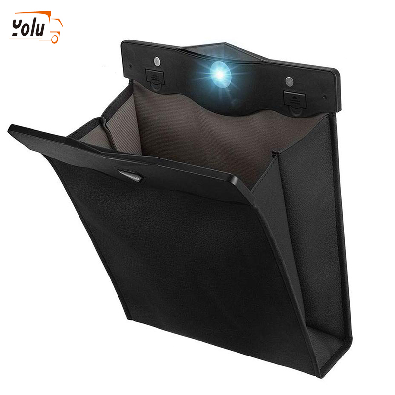 YOLU LED Car Trash Can Organizer Garbage Holder Car Storage Bag Accessories Auto Door Seat Back Visor Trash Bin Paper Dustbin