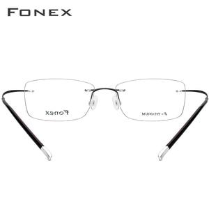 Image 5 - FONEX B Pure Titanium Rimless Optical Glasses Men Women Frameless Prescription Eyeglasses Frame Ultralight Myopia Eyewear 9203