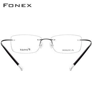 Image 5 - FONEX B gafas ópticas sin montura de titanio puro para hombre y mujer, anteojos recetados sin marco, montura ultraligera para miopía, 9203