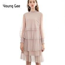 Женское многослойное плиссированное платье young gee Сетчатое