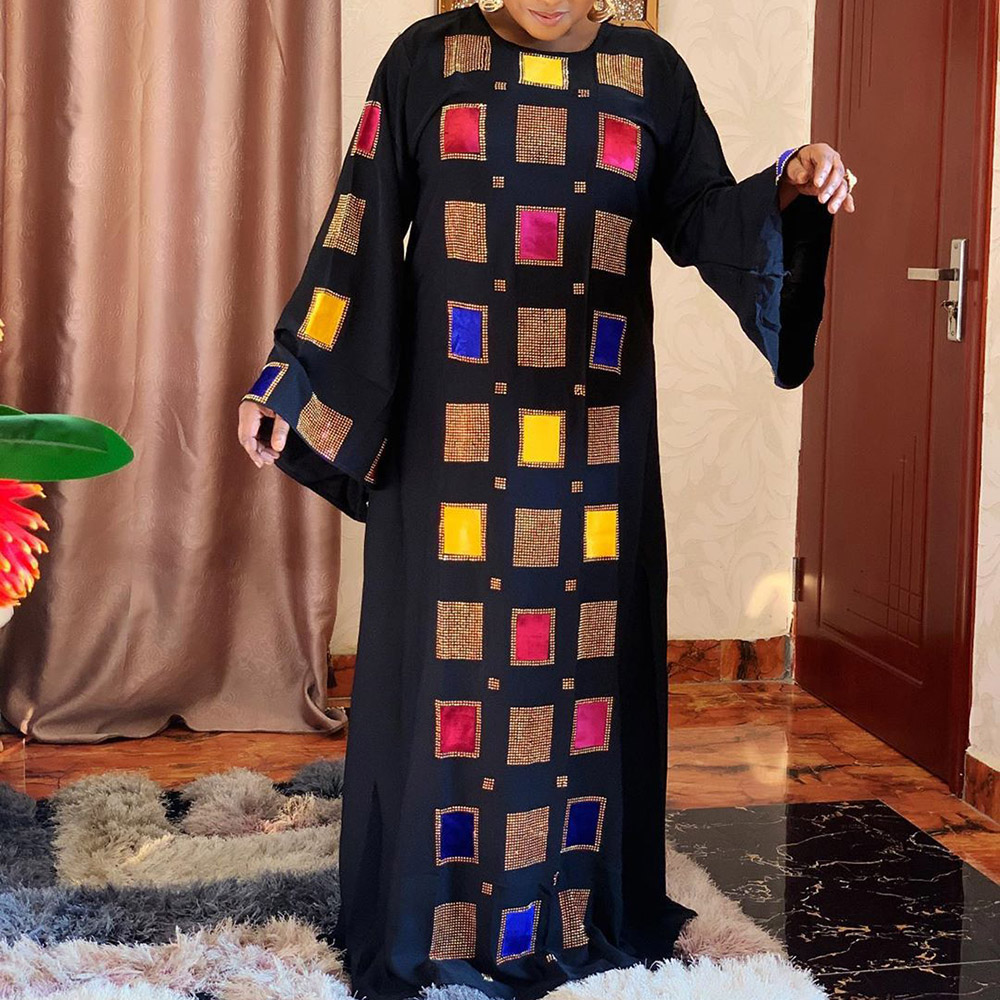 Plus Size 3XL African Fashion Long Dress Women Beading Dubai Abaya 2020 Muslim Maxi Dresses Autumn Elegant Black Party Robe