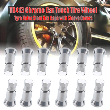 12Pc/set TR413 Chrome Car Truck Tire Wheel Tyre Valve Stem Hex Caps Case w/ Sleeve Cover Left Right Front Rear Tyre Stem Air Cap image