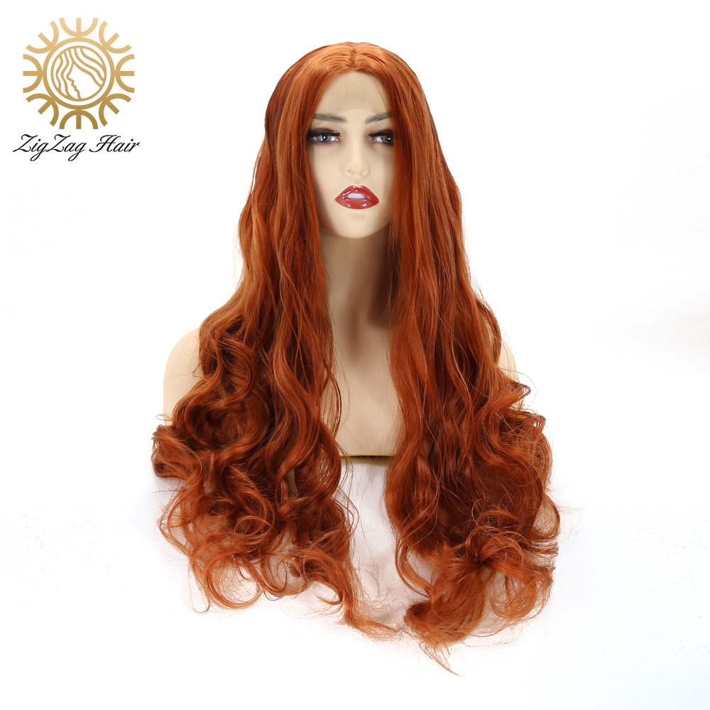 ZigZag Long Wavy Synthetic Lace Front Wigs For Black Women Brown Body Wave Heat Resistant Fiber Hair Cosplay Wig Middle Part