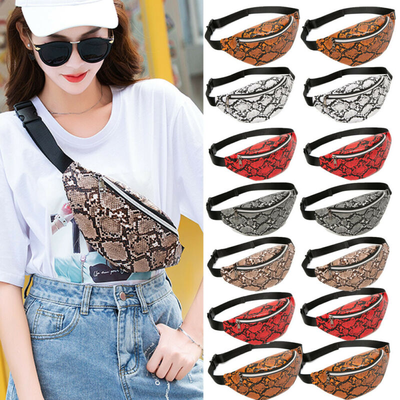 2020 Fashion Snake Pattern Women's Waist Bag PU Leather Portable Travel Chest Bag Purse New Fanny Pack