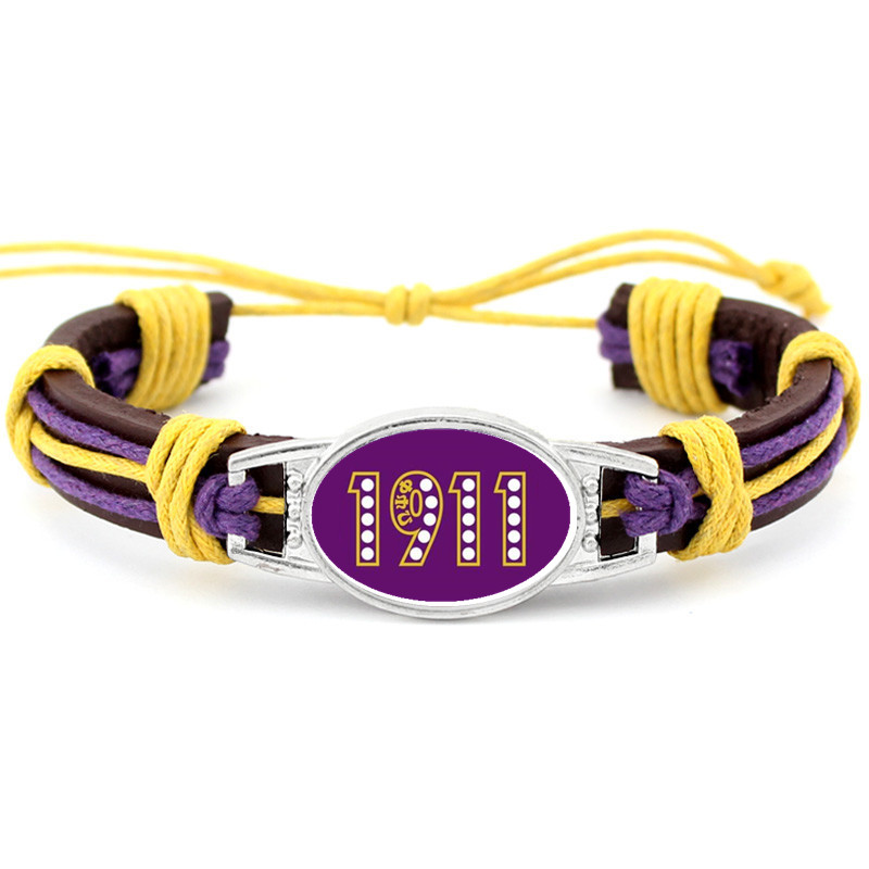 Custom Greek Letters Fraternity Omegaa Psi Phi Charm Adjustable Genuine Leather Bracelets & Bangles Jewelry For Man Woman 10PCS