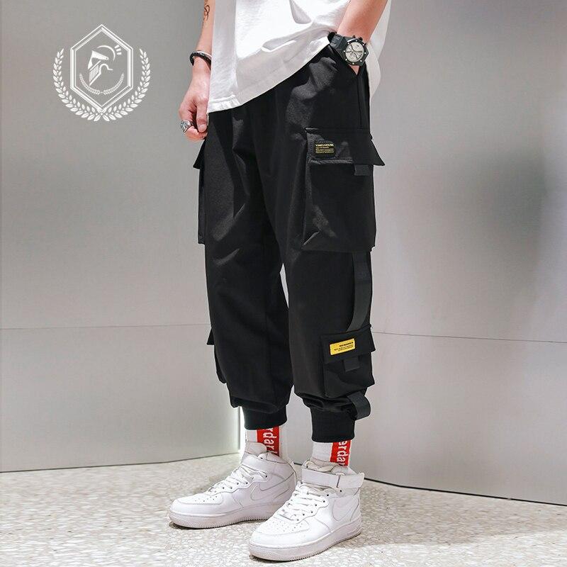 Men Loose Cargo Safari Style Pants Patchwork Harem Jogger Pants Ankle-Length Hip Hop Pants