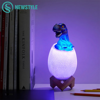 3D Print 16 Colors Dinosaur Eggs LED Night Light Touch Sensor Rechargeable Remote Control 4 Modes Bedside Lamp for Kids Gift Toy