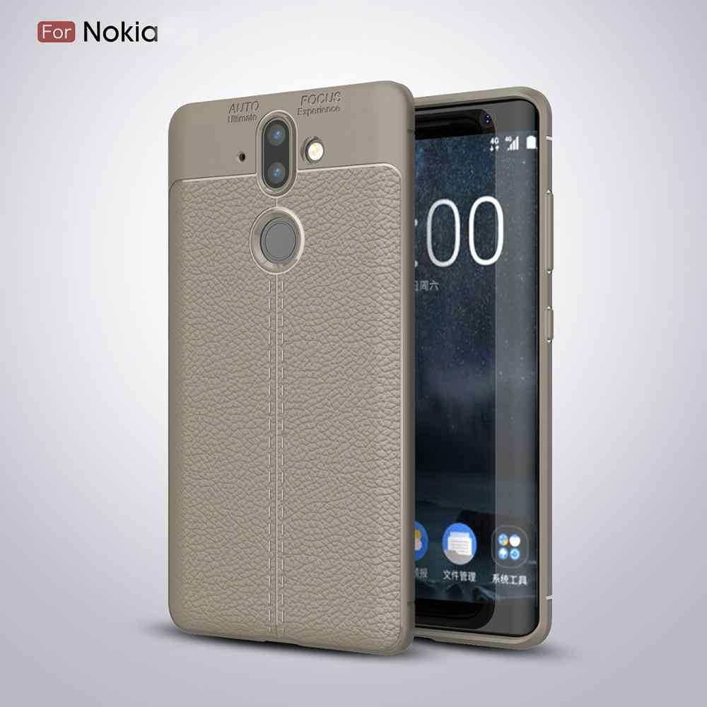 Lembut Tpu Kulit Imitasi Litch Phone Case untuk Nokia 6 5 7 8 Sirocco 6 2018 Plus 1X6 2.1 3.1 5.1 Plus 7.1 8.1 9 Pureview Cover