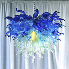 High Quality Lustre Colored Hand Blown Glass Chandelier for Home Modern Minimalist Light