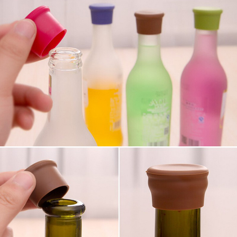 New Silicone Red Wine Stoppers Food Grade Beer Beverage Bottle Caps Sealers Leak Free Fresh Keeping Plug For Kitchen Gadget Bar
