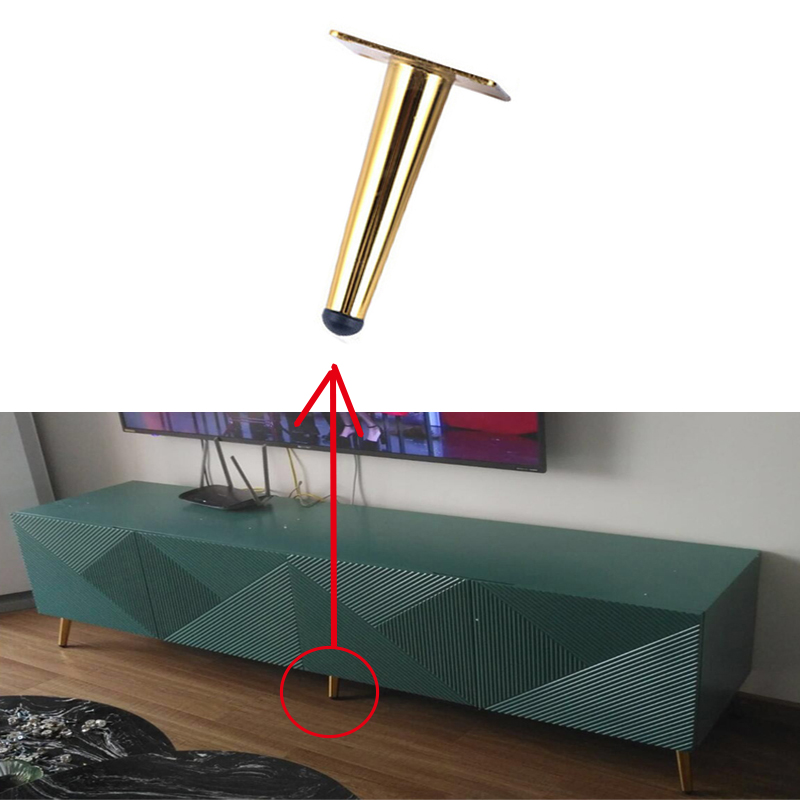 12cm1/4pcs Black Gold Oblique Tapered Furniture Table Leg Metal For TV Cabinet Counter Foot Chair Leg Sofa Tea Coffee Table Foot