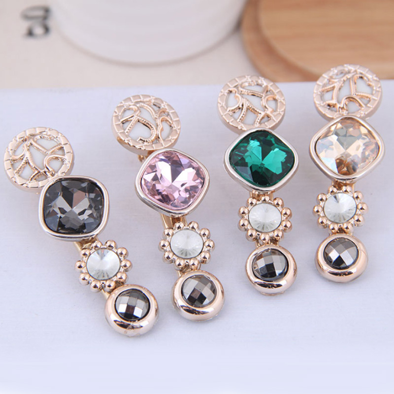 Korean Fashion Crystal Women Hairpins Jewelry Vintage Gold Geometric Barrettes Girls Hair Clips Pince Cheveux Femme Wholesale