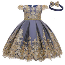 3M-24M Baby Dresses Gold Lace Matching Dew Back Girl Party Dress With Bow Gift Headband  CN(Origin) O-Neck Kids evening dresses