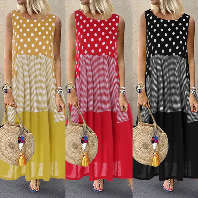 Womens Patchwork Sundress ZANZEA 2019 Bohemian Polka Printed Dress Casual Long Sleeve Tank Vestidos Female Bagyy Robe Plus Size