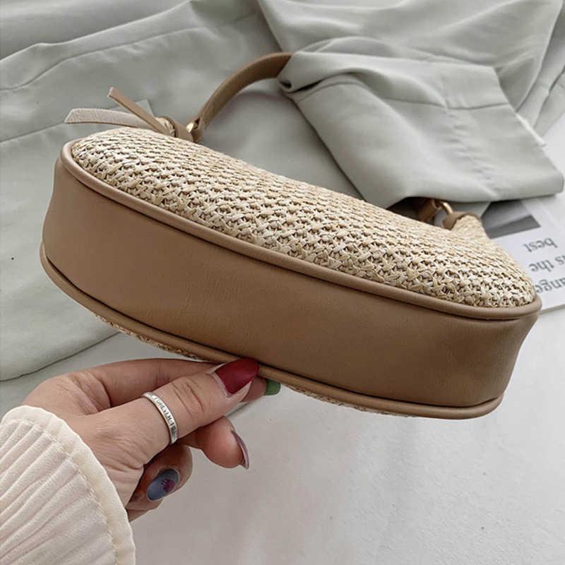 חדש אופנה ירח קש + עור תיק נשים קיץ קש תיק בעבודת יד ארוג חוף בוהמיה כתף תיק Crossbody שקיות ארנק