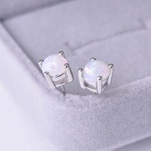 цена на Classics Simple Round Multicolor Fire Opal Stud Earrings For Women Silver Color Filled Jewelry Cute Earrings