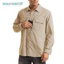 WOLFONROAD Tático Camisa de Treinamento Do Exército dos homens de Secagem Rápida de Manga Longa Sol/Proteção Da Pele Caminhadas Walking Sports Camiseta topos