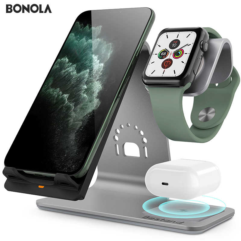 Bonola Ti-Mingle 3 in1 شاحن لاسلكي سريع ل iPhone11/11Por/XsMax تغيير لاسلكي ل AirPods جهاز شحن ل iWatch4/3