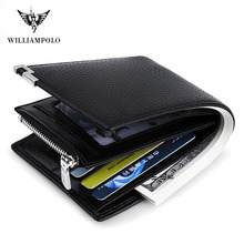 WILLIAMPOLO Men Wallet Black Leather Clip Purse Card Coin Pocket Zipper Design bifolds Money Bag Male Business Cowhide Wallets